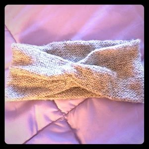 Cute Taupe headband with gold glitter